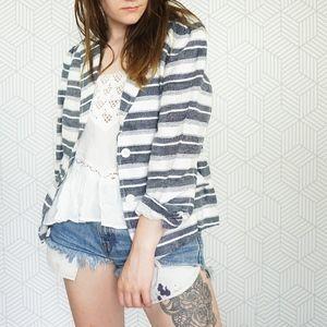 Loft Linen Striped Blazer Jacket size 10